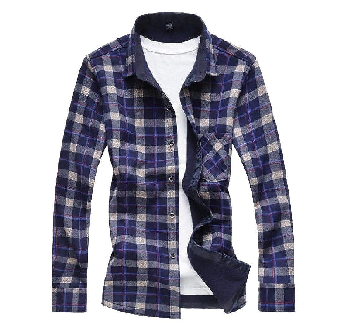 YUNY Men Plus Size Plaid Casual Tops Plus Velvet Button Down Dress Shirts 5 2XL