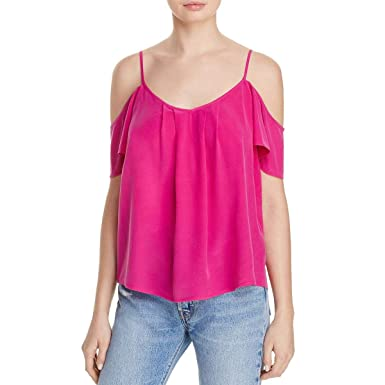 24d67bb7223961 Image Unavailable. Image not available for. Color  Joie Womens Adorlee Silk  Cold Shoulder Casual Top Pink L