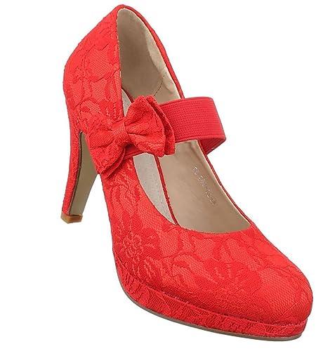 Damen Pumps Schuhe High Heels Stöckelschuhe Stiletto Plateau Rot 37 HJVevl