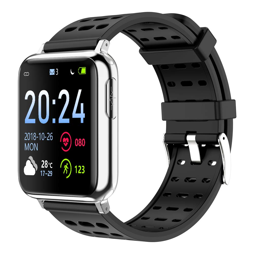 WINAWORLD V5/Black Health SmartWatch ECG+PPG+SpO2 Heart rate Blood pressure Blood oxygen electrocardiogram 24 hour monitoring Sport tracker Calorie Pedometer Detection IP67 Waterproof weather forecast by WINAWORLD