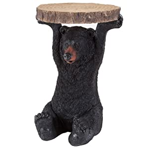 Bits and Pieces-Decorative Bear Patio Side Table -Accent Table Realistic Black Bear End Table Great for The Cabin Decoration - Indoor or Outdoor Decorative Table Resin Sculpture Side Table
