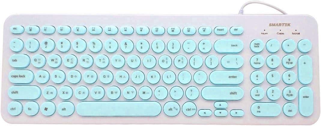 Teclado (Coreano-inglés) Estilo Punk Retro con Teclado Redondo USB silencioso Ultra silencioso Retro & Wired Mouse Kit Membrana Redondo teclados 96 ...