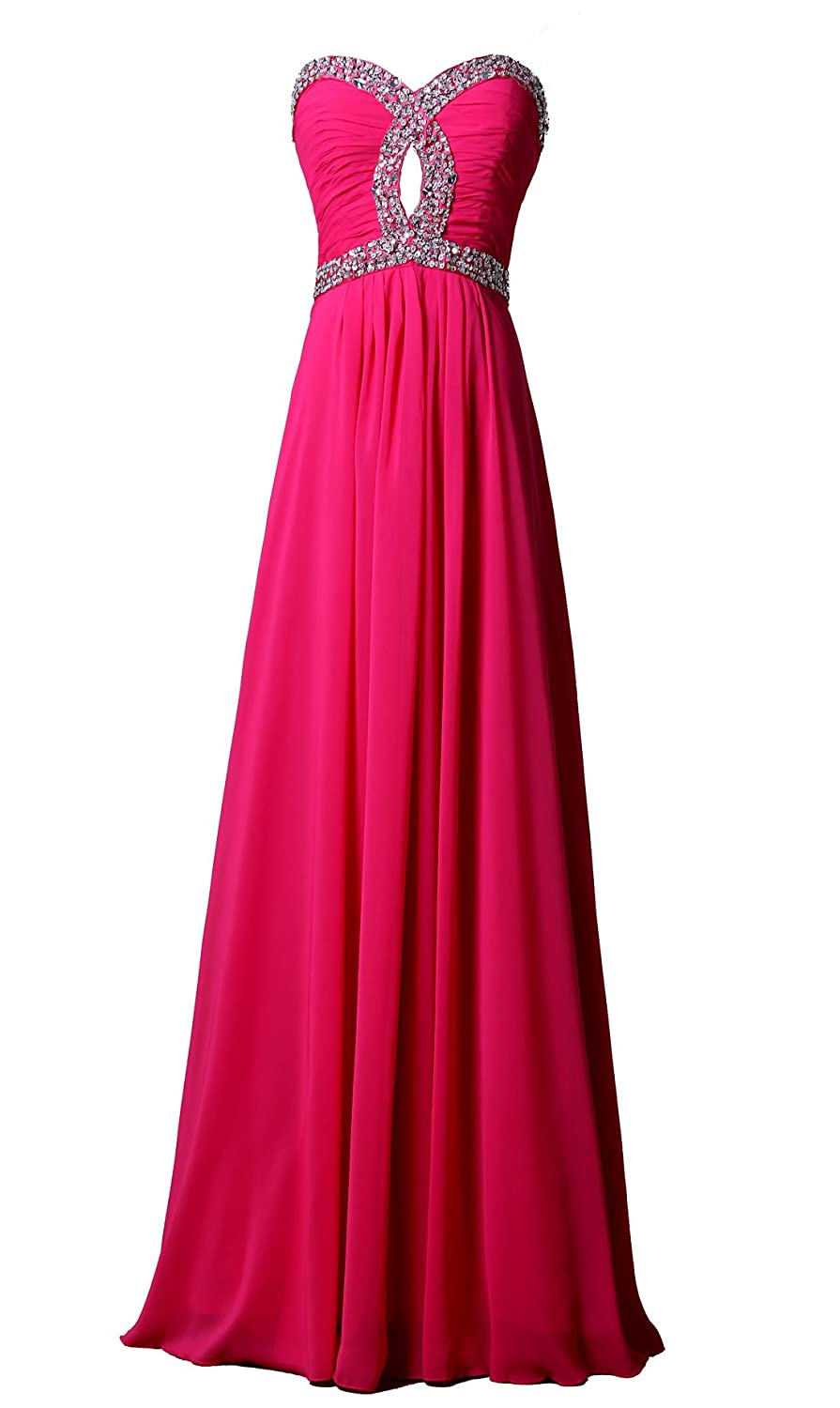 Mkleids Women's Lace Up Beaded Sequined Chiffon Evening Dresses Floor-Length