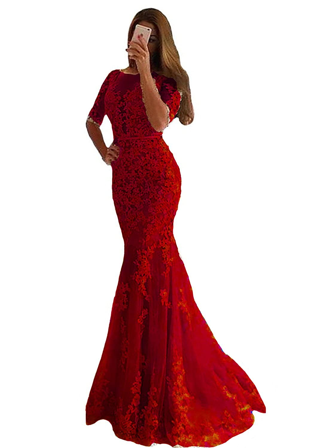 Wine Red Lemai Women Mermaid Long Lace Half Sleeves Formal Prom Dresses Evening Gowns