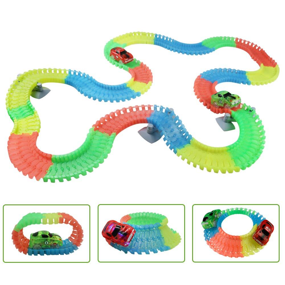 yoptote Circuito Coches Flexible 240 Piezas Pista Coches Juguete Construcciones con 2 Fluorescentes Car para Niños de 3 Años (360 cm)