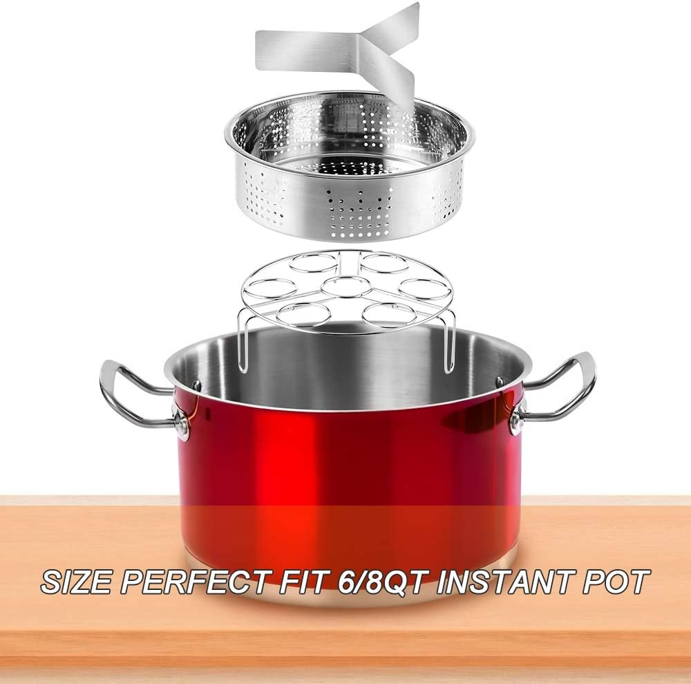 Cesta de Vapor de Acero Inoxidable 304 con Mango Cubierto de Silicona yidenguk 4 Piezas Set de Vaporeras para ollas Divisor para Maceta instant/ánea 6 8 qt Estante para vaporera de Huevos