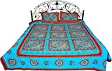 River-Blue Bedspread from Gujarat with Embroidered Flowers and Mirrors - Pure Cotton with Pillow Cov