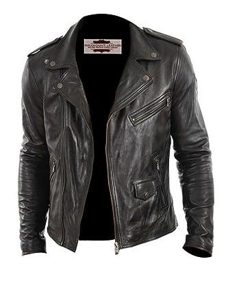 PARAMOUNT LEATHER Stylo Black Designer Notch Collar Pure Leather ...