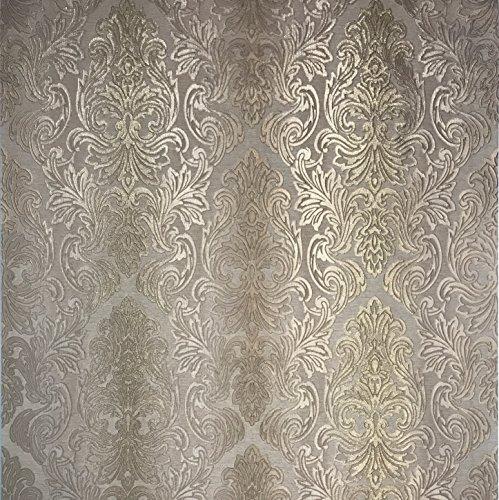 113.52sq.ft roll Slavyanski wallcoverings Victorian Vinyl Non-Woven Wallpaper Beige Sand tan Metallic Gold Glitters Stripes Embossed Modern Damask Pattern Wallpapers for Walls 3D Paste The Wall only