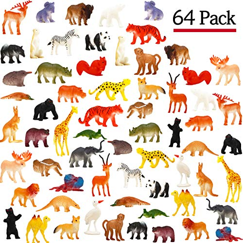 Animal Toy, 64 Pack Mini Wild Plastic Animals Models Toys Kit, Funcorn Toys Jungle Realistic Animal Figure Set for Children Kids Boy Girl Party Favors Educational Toy Birthday Game Classrooms Rewards