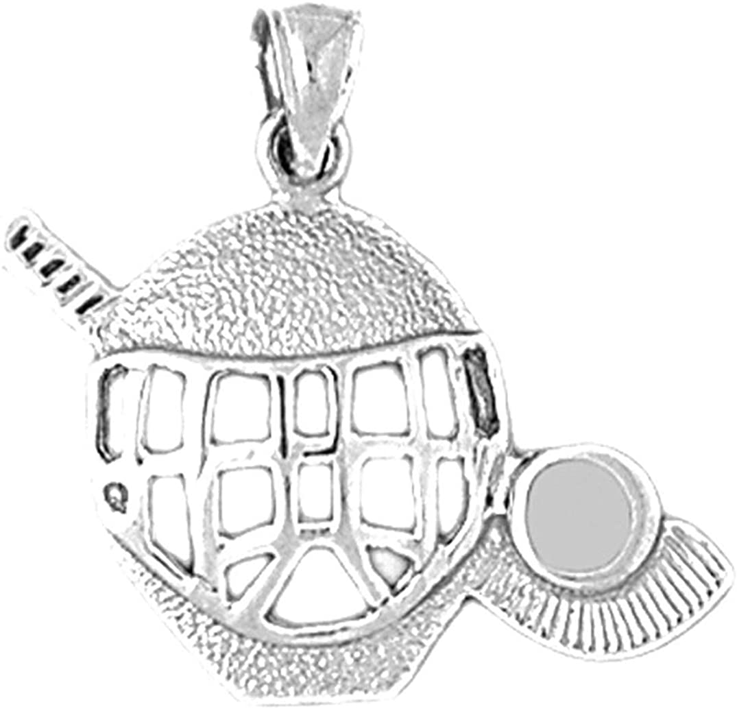 Sterling Silver 925 Hockey Mask With Stick /& Puck Pendant 25 mm Jewels Obsession Hockey Mask With Stick /& Puck Pendant