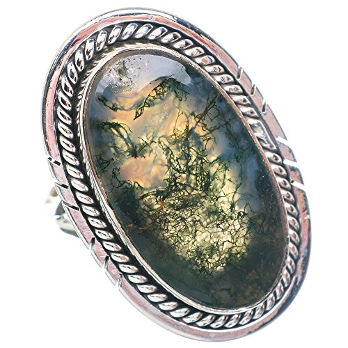 Large Green Moss Agate Ring Size 8 (925 Sterling Silver) - Handmade Boho Vintage Jewelry RING901905 ()