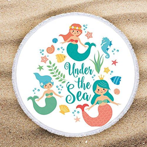 - ARIGHTEX Little Mermaid Beach Towel Round Beach Towels for Girls Turquoise Ocean Decor Beach Roundie Fringe Beach Gifts for Women