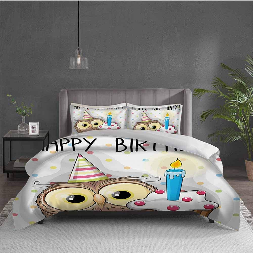 GUUVOR Kids Birthday Pure Bedding Hotel Luxury Bed Linen Baby Owl Bird Party Cupcake Tasty Creamy Cake on Colorful Polka Dots Backdrop Polyester - Soft and Breathable (Queen) Multicolor