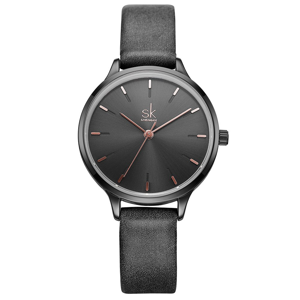 SK Woman Fashion Quartz Watch Elegant Diamond Wristwatch Girls Ultra-Thin Waterproof Wrist Watches (8025 Black)