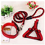 RunHigh Adjustable Pet Multi-Color Rope Leashes Collar Harness 3 Pcs Set Dog Cat