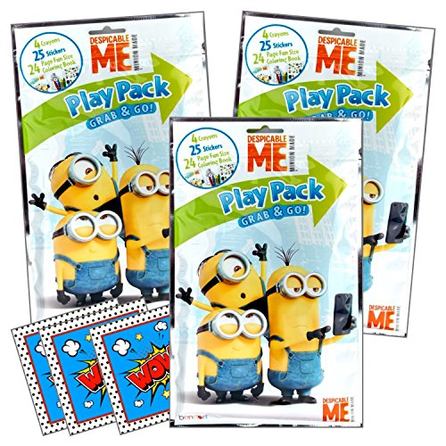 Despicable Me Minions Coloring Pack Party Activity Favors with Stickers, Crayons and Coloring Activity Book in a Resealable Pouch Bundled With 3 Separately Licensed GWW Prize Reward -