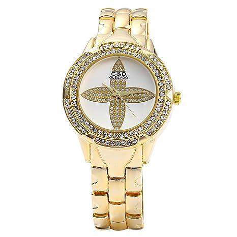 721219e6f55b Eleoption lujo Casual G   D las mujeres muñeca del cuarzo relojes oro  cadena de plata
