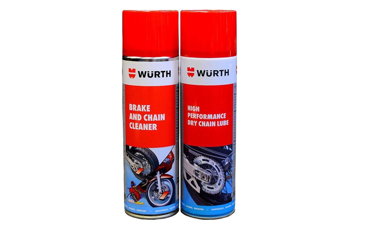 Twin pack Wurth Lube & Brake and Chain Cleaner - 500ml.