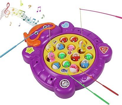 yoptote Electric Magnetic Pesca de Juego de Mesa de Música de Rotación de Juguete Desarrollo Educativo Temprano para Niños 3 4 5 Años (Style B) - Amazon.es