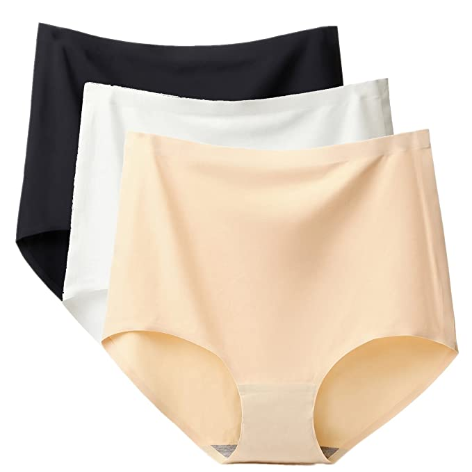 772e41fde 3 Pack High Waist Tummy Control Panties for Women Pure Seamless Underwear  Briefs (Black