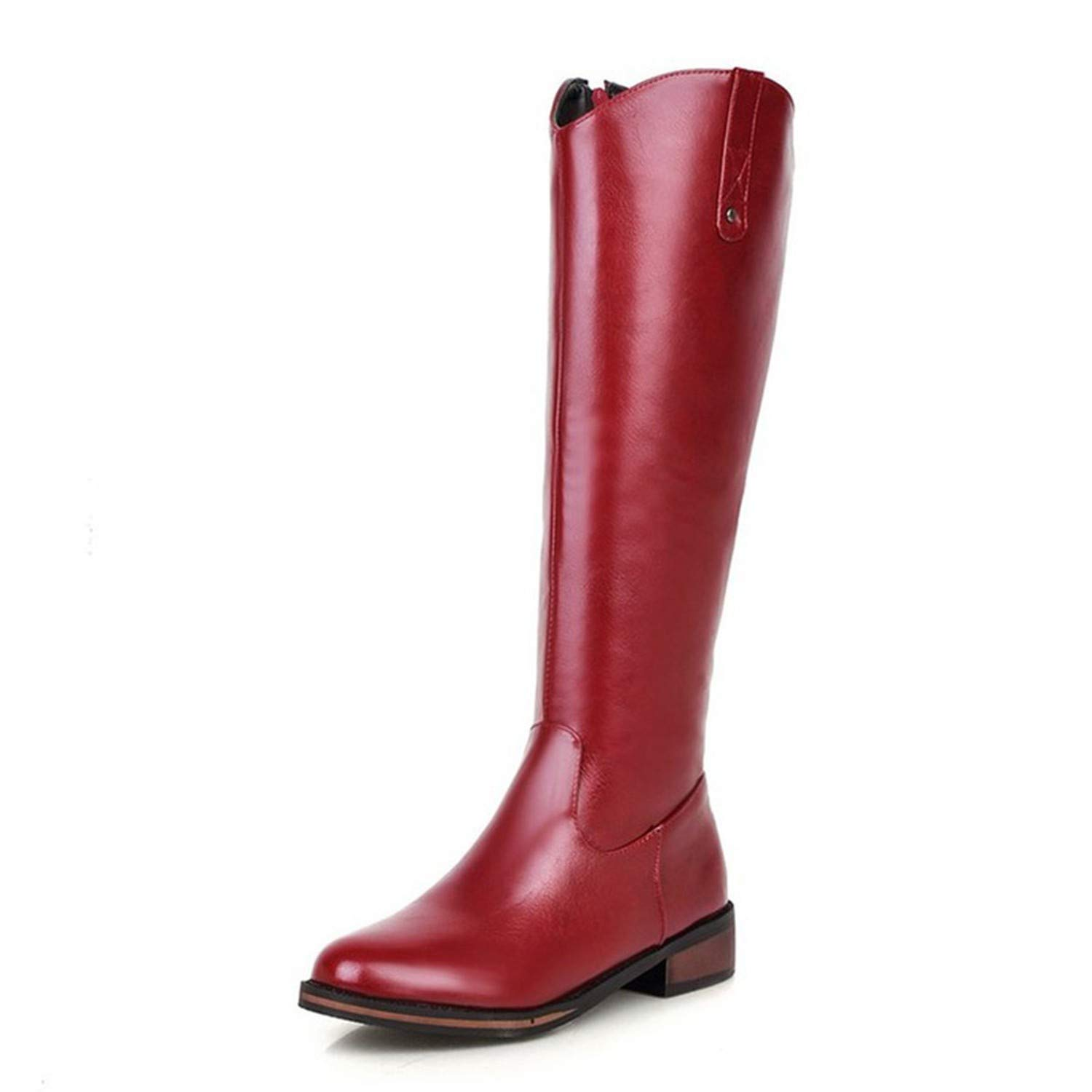 Red Nice Style Large Size 32-43 Platform Add Plush Knee High Black Riding Boots Woman
