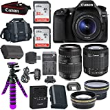 Canon EOS 80D Digital SLR Camera Body (Black) with Built-In Wi-Fi Connectivity + EF-S 18-55mm f/3.5-5.6 IS STM Lens + Tamron Auto Focus 70-300mm f/4.0-5.6 Di LD Macro Zoom + 58mm Wide Angle Lens