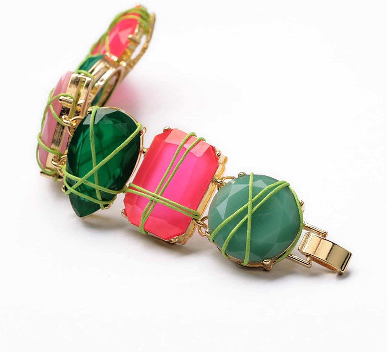 Tata Trend Statement Fashion Jewelry Elegant Multi Resin Geometric Stone Flowers Charming Bangles /& Bracelets