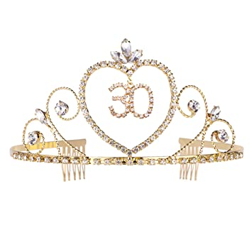 35th Rhinestone Crown Birthday Anniversary Tiaras with Comb Headpieces