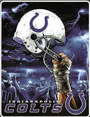 NFL Indianapolis Colts 60-Inch-by-80-Inch Plush Rachel Blanket, Sky Helmet Design ()
