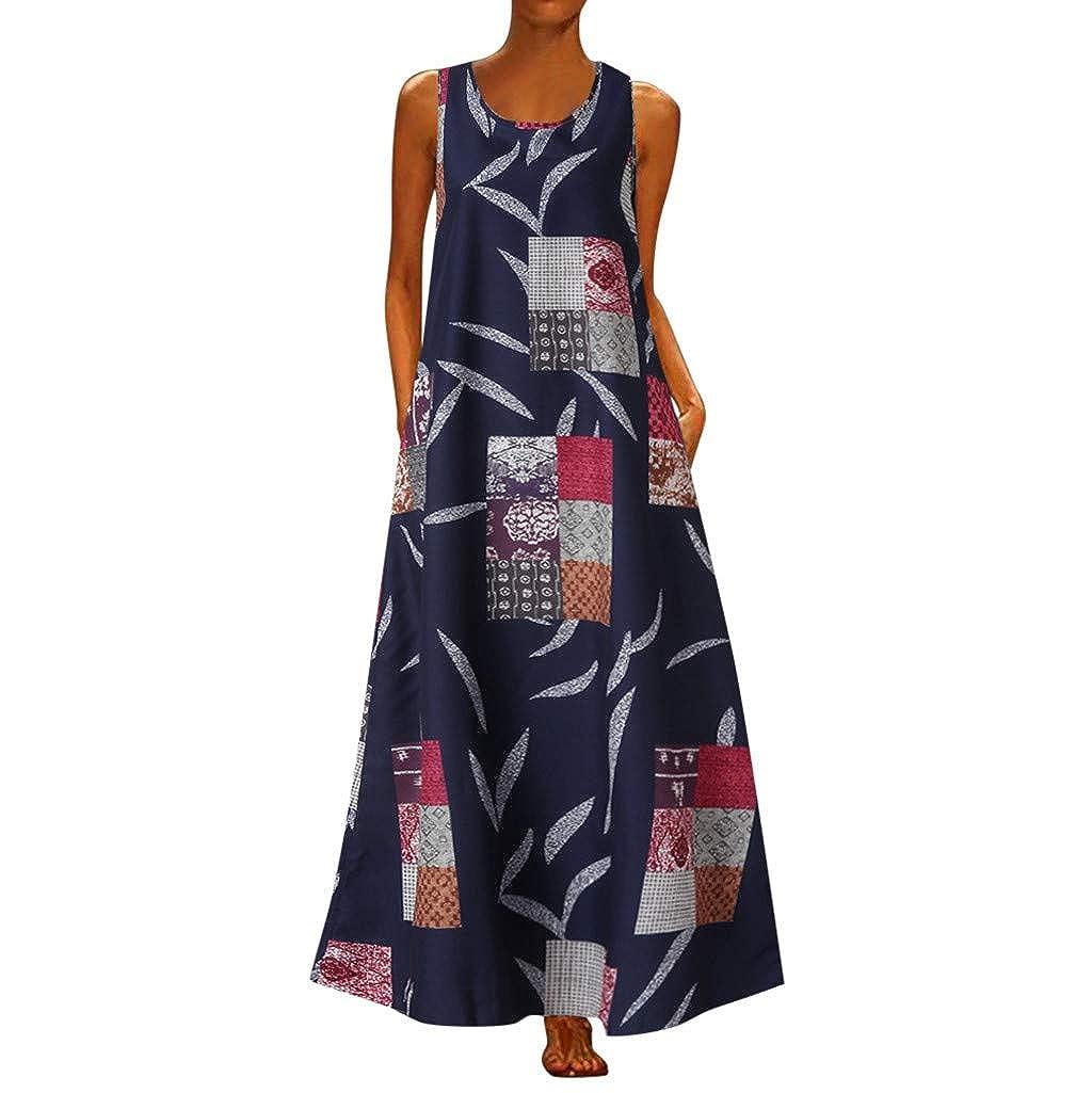 Vintage O-Neck Dot Tank Top Casual Tunic Long Maxi Beach Skirt Women Sleeveless Printed Long Dress