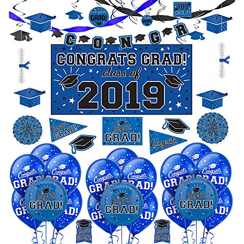 Party City Blue Congrats Grad 2019 Graduation Deluxe Decorating Supplies with  Banner, Streamers, and Swirls
