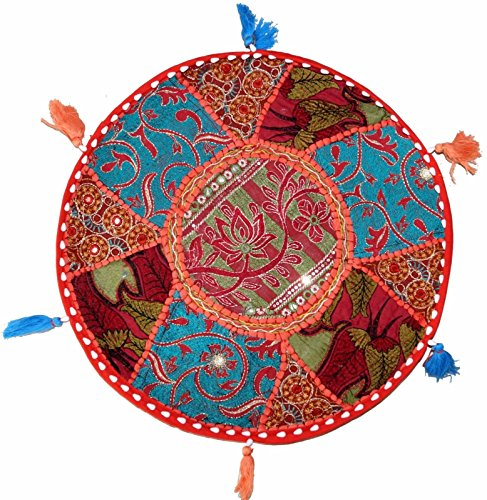 17 Red Round Floor Pillow Cushion Cover Handmade Vintage Tapestry Throw Indian