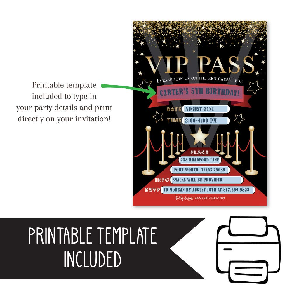 25 Vip Movie Night Star Faux Glitter Ticket Party Invitation Hollywood Rockstar Oscar Themed Kids Birthday Invite Ideas Lanyard Red Carpet Theme