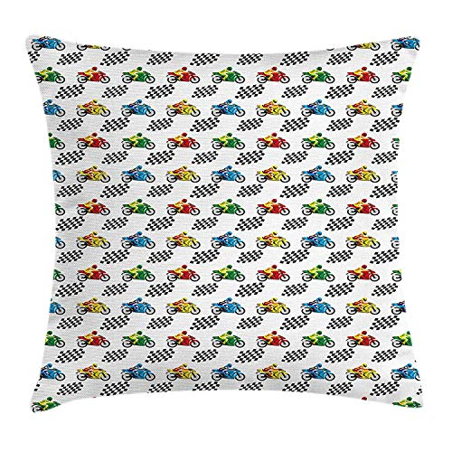 Yingzsal Motorcycle Throw Pillow Cushion Cover, Sports Bike with Racing Riders Among Black and White Chequered Flags Competition, Decorative Square Accent Pillow Case, 22 X 22 Inches, Multicolor