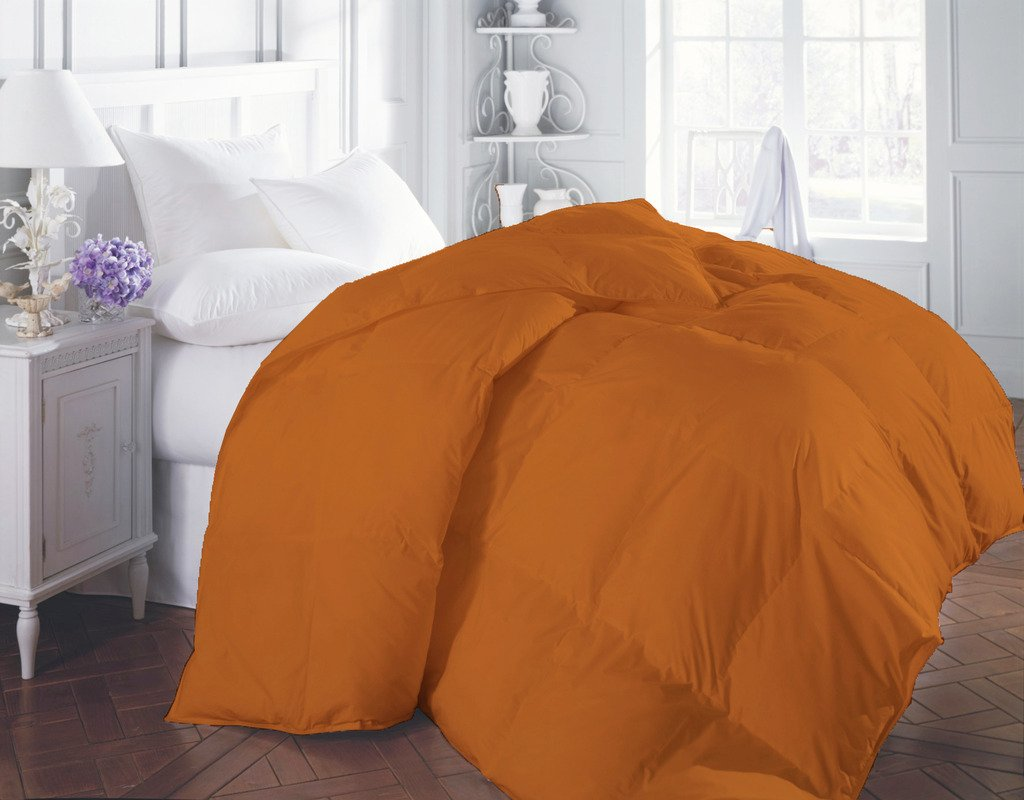 1200 TC Luxurious and Hypoallergenic 100% Egyptian Cotton Comforter Orange Twin By Kotton Culture Solid (Cocoon Feel 400 GSM Medium Weight (Warm Comforter) Microfibre filling)