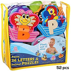 Foam Letters Bath Toys - Fun and Educational Floating Toys with FREE Bath Organizer Storage Bag - Early Learning Colors Letters Shapes and Animals - Premium Set 52 Pcs-Non-Toxic & BPA-Free Alphabet