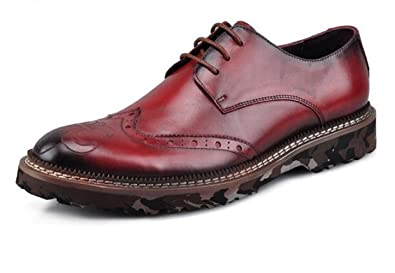 Amazon Com Happyshop Tm Men S Genuine Oxford Leather Wingtip