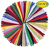 SUNVORE 120 Pcs 9 Inch Nylon Coil Zippers Bulk for Tailor Sewing Crafts (20 Colors)