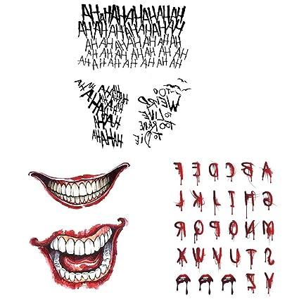 AWFAND Tatuajes temporales de Halloween, The Joker Tatuajes ...