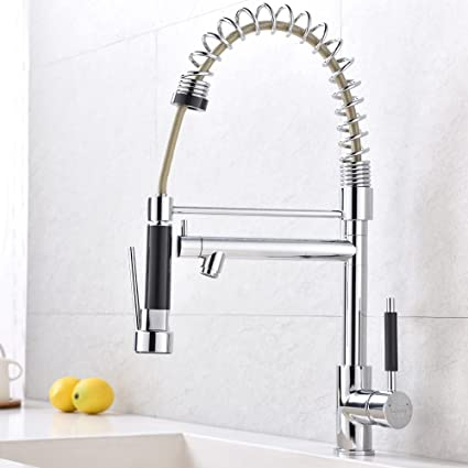Bon VCCUCINE Best Commercial Chrome Single Handle Pull Down Sprayer Kitchen  Faucet, High Arch Pull Out