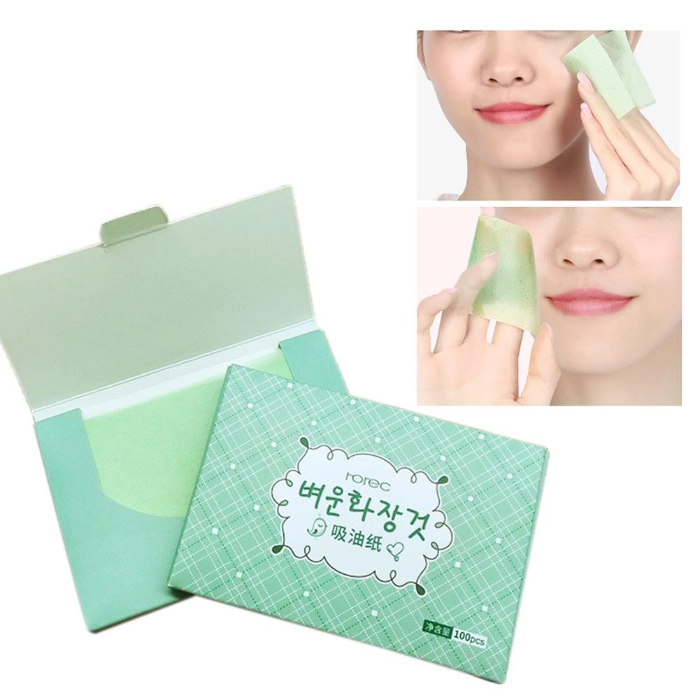 Oil Absorbing Sheets by Clean Clear for Unisex Lady Cosmetic Facial Oil Blotting Paper Sheets 100 pezzi/pacchetto tè verde olio assorbente carta viso per la pulizia olio rinfrescante controllo colinsa