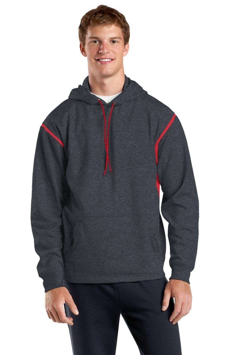 Sport-Tek Men's Tall Tech Fleece Colorblock 2XLT Graphite Heather/True Red by Sport-Tek