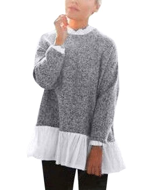 ZANZEA Mujer Tejer Sweater Cuello Redondo Manga Larga lâce Pull alto Top Blouse Gris gris