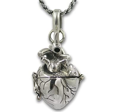 Anatomical heart necklace solid sterling silver 3d antique finish anatomical heart necklace solid sterling silver 3d antique finish message note holder or pill box pendant aloadofball Choice Image