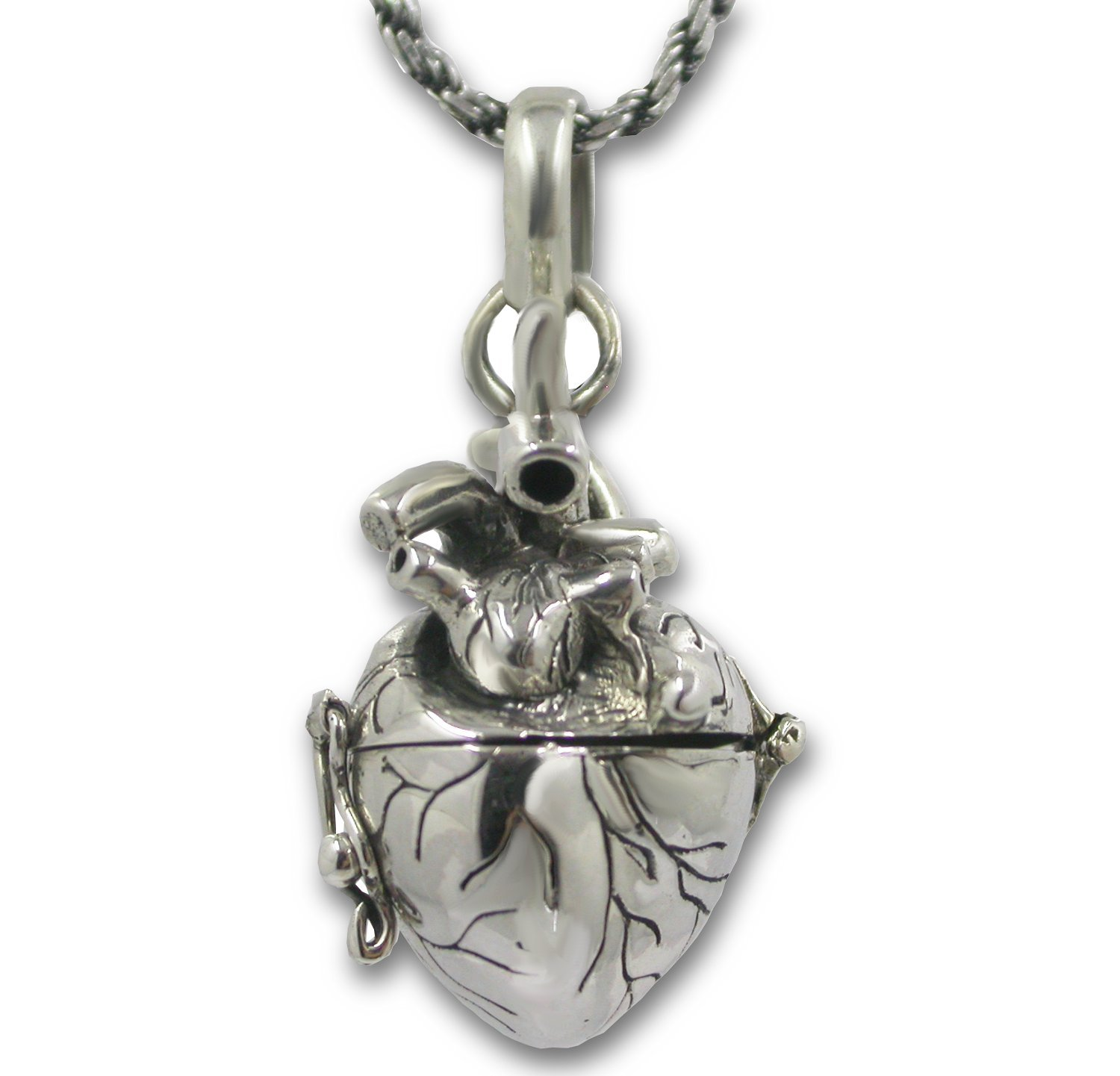 Anatomical Heart Necklace Solid Sterling Silver 3d Antique Finish Message Note Holder or Pill Box Pendant Locket Opens (Heart with 24'' Solid Silver Rope Chain)