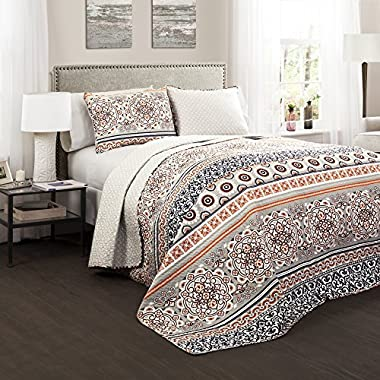 Lush Decor 3 Piece Nesco Quilt Set, Full/Queen, Navy/Coral