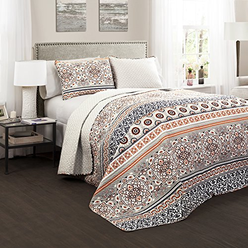 Cheap Lush Décor Nesco Quilt Set Striped Pattern Reversible 3 Piece Bedding Set - Navy/Coral - Full...