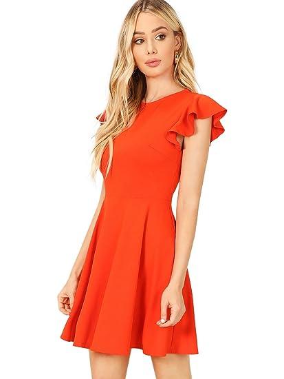 Orange Dress Cap Sleeve