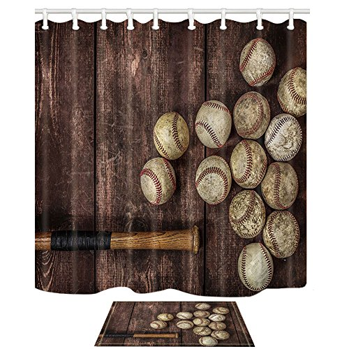 - NYMB Baseball on The Wooden 69X70in Polyester Fabric Shower Curtain Suit with 40x60cm Flannel Non-Slip Floor Mat Bath Rug (Multi25)